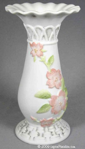Lefton Paradise View Item Bisque Vase With Dogwood Blossoms