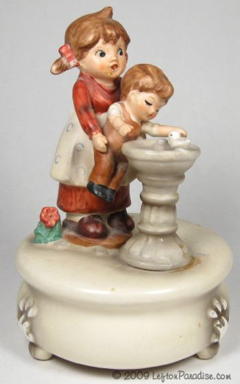 Children at a Fountain Musical Figurine - 7817